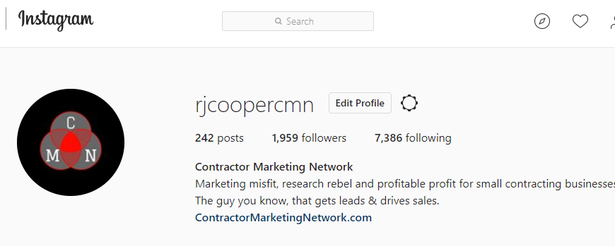 Contractor Marketing Network Instagram Bio Page