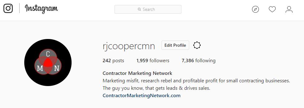 Contractor Marketing Network Instagram Bio Page