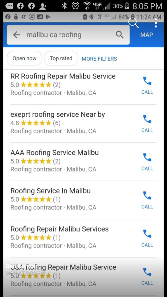 Google Maps spam listings